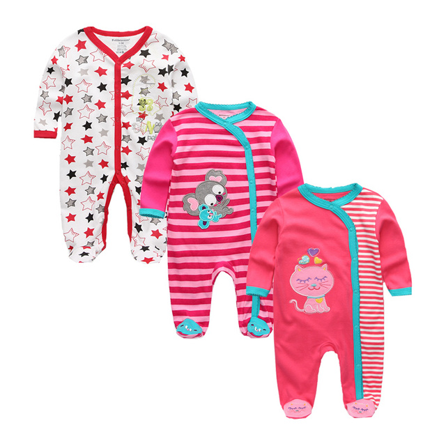 Newborn's Cotton Rompers with Covered Button