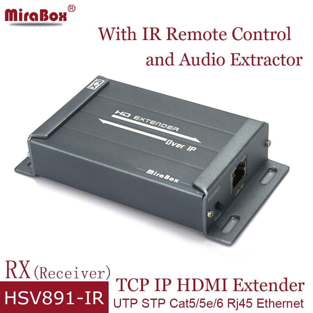 RX HSV891-IR HDMI Extender Cat5 with IR Remote Control HDMI Ethernet Receiver over UTP STP Cat5e/Cat6 Rj45 HDMI Extender over IP ir infra red extender emitter over hdmi adapter injector extender emitter sac blaster magic eye