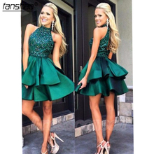 Homecoming-Dresses Emerald Green Lace Mini A-Line High Sequins Above Illusion Backless
