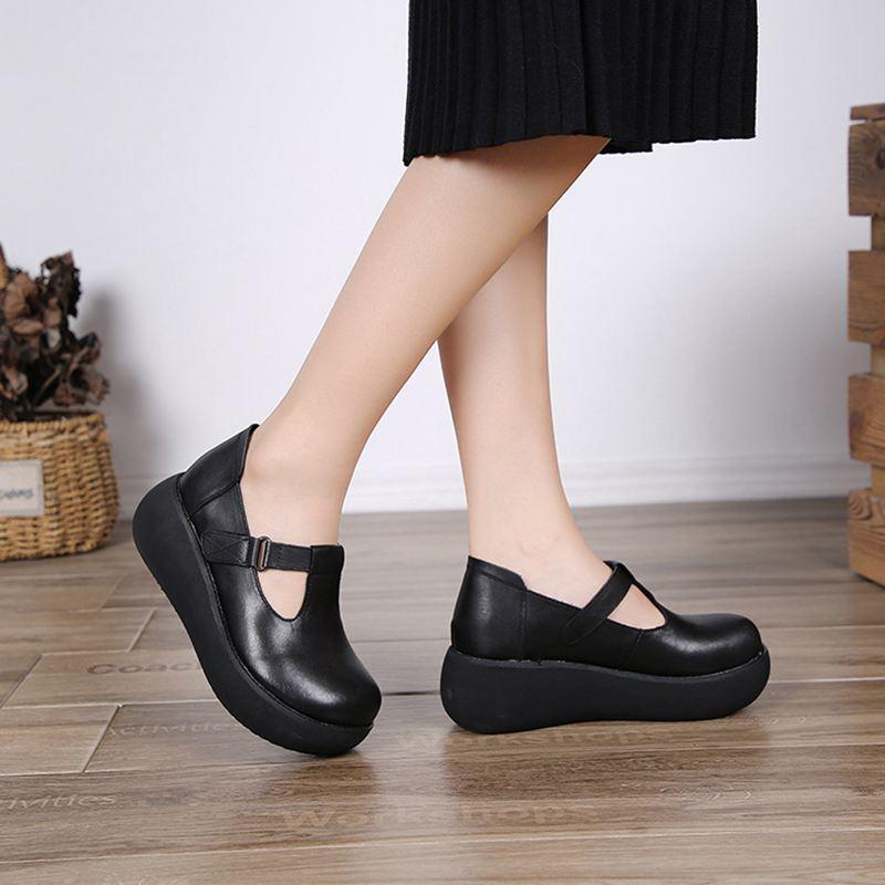 Épaisses Casual La Plates Unique brown Classique 2018 De Simple Main À Chaussures Noir Semelles Cuir Rétro Sauvage Nouveau Automne Femmes Chaussures wEpxPaqp