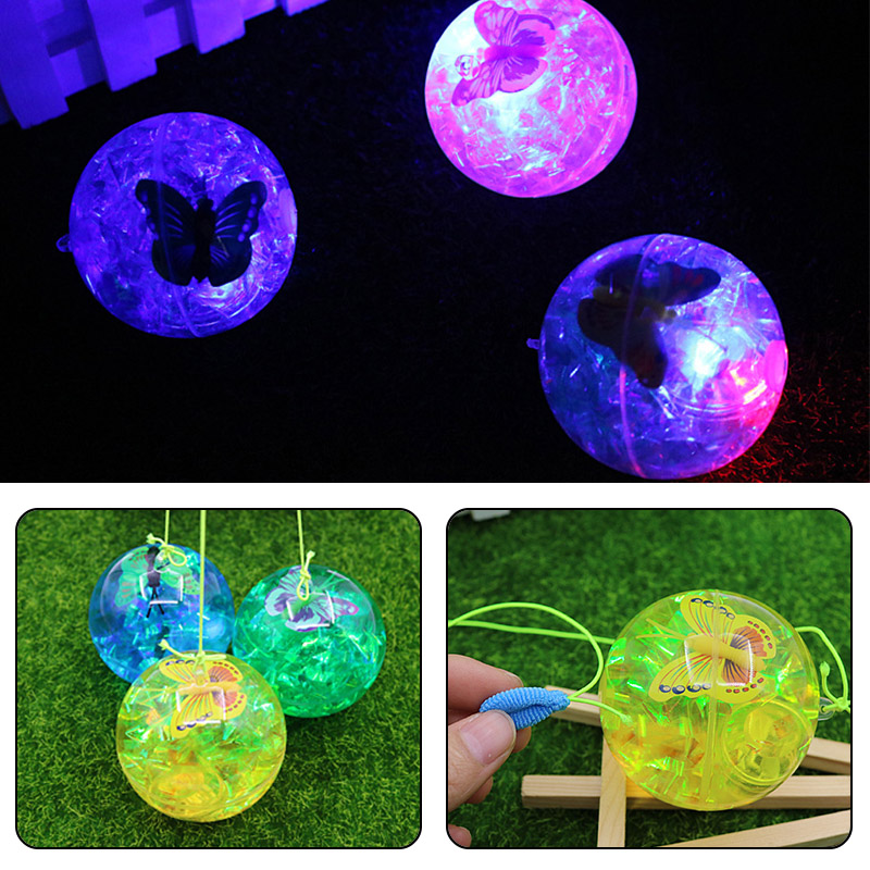 Spikey LED Butterfly Ball Flashing Fun Elasticity Blinking Toy Children Gift