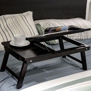 Image 3 - マジックユニオンポータブルラップトップテーブル木製ホームデスク大学の寮ベッド折りたたみテーブル膝怠惰なテーブル小規模な研究デスク