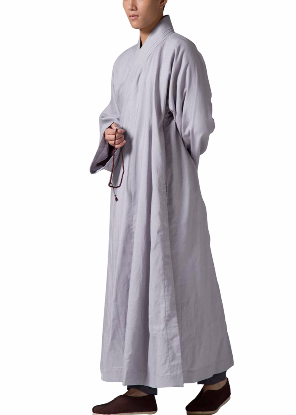 ZanYing Men's Religion Buddhist Meditation Monk Robe Grey - Traditionele kleding