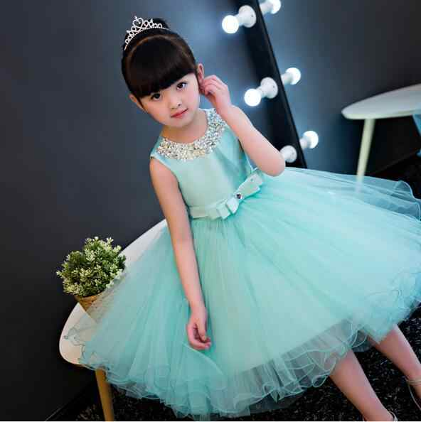 387a08cc0 ... Fashion Formal Newborn Blue Wedding Dress Baby Girl Bow Pattern For Toddler  1 Years Birthday Party ...