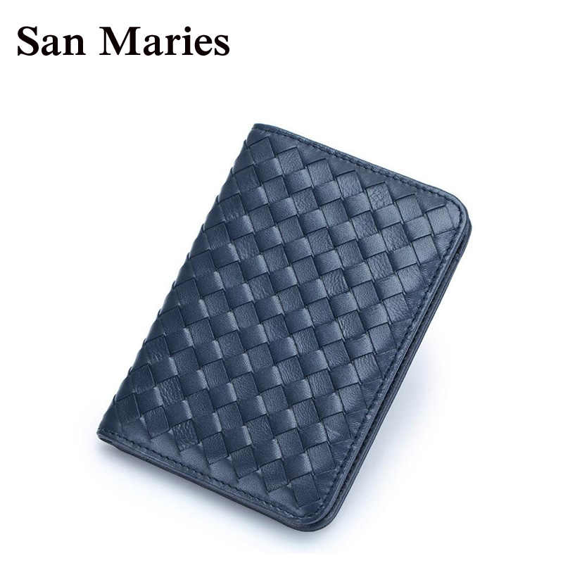 San Maries Luxury Genuine Leather Women Wallets Sheepskin Woven Knitting Unisex Natural Lady Clutch Female Purse Card Hold