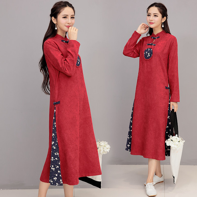 2017 New Product Most Popular Elegant Women Long Sleeve Cheongsam Dress Temperament Girl Chinese Style Pure Cotton Party Dress