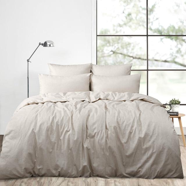 4PCS Real Washed Linen Duvet Cover Set King French Bedding