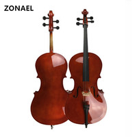 ZONAEL Wooden Cello Matte Finish Basswood Face Board With Bow Rosin Carrying Bag For Students Music