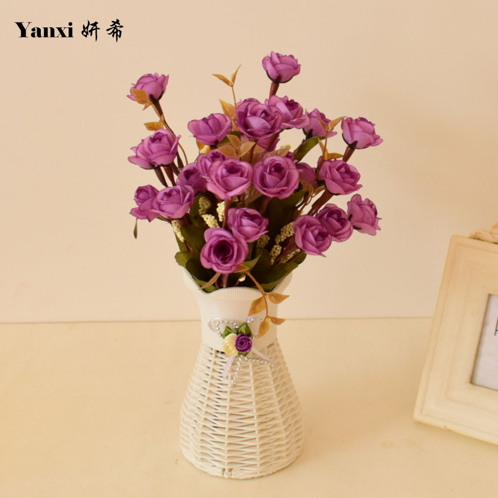 Online shop artificial flowers vase with silk small roses set for online shop artificial flowers vase with silk small roses set for home tabletop party wedding living room decoration plastic white flowerpot aliexpress reviewsmspy