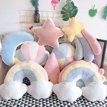 Nuvem – oreiller couleur bonbon, Nuage, étoile, lune, arc-en-ciel, décoration de canapé de maison, coussin en peluche, Nuage, qualité Super douce
