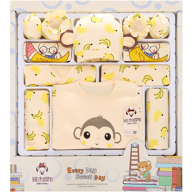 100% cotton newborn gift box (18pcs/sets) baby clothes Spring and Summer warm set newborn baby set for 0- 3 month baby 0cm in diameter large space baby hand footed printing mud set newborn baby hand and foot print hundred days old gift souvenir