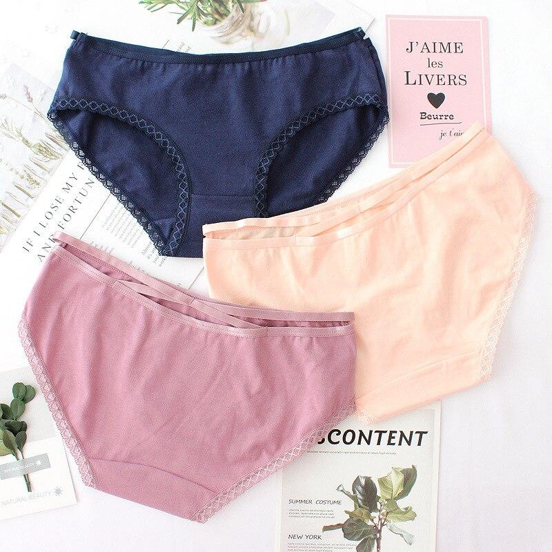 Roseheart New Women Fashion Cotton Straps Cut Out Mid Waist Panties Underwear Lingerie Briefs 3 Piece Color
