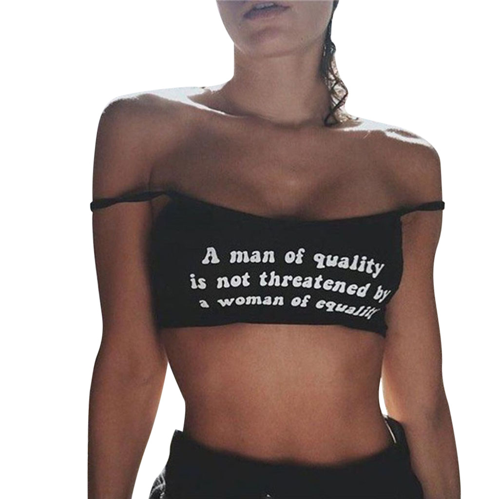 Female Vest Women Letters Printing Sleeveless Crop   Top   Sexy Off Shoulder Vest   Tank   Shirt Cami   Tops   #80