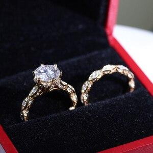 Image 4 - DovEggs anillo de oro amarillo y moissanita para mujer, sortija, oro de 14K, 585, 3CT, centro, 9mm, ancho de banda de 2,2mm, conjunto de anillos de compromiso con Detalles