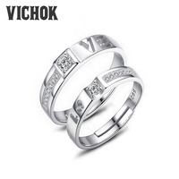 VICHOK Love Vintage Luxury Jewelry 925 Sterling Silver Platinum Plated Couple Ring For Women Men Birthday