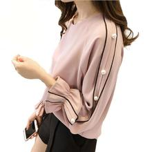 Plus size Chiffon shirt female 2017 Blusa Beaded Tops Autumn long-sleeved  Solid color Women blouse Women clothing 4fac03a9481e