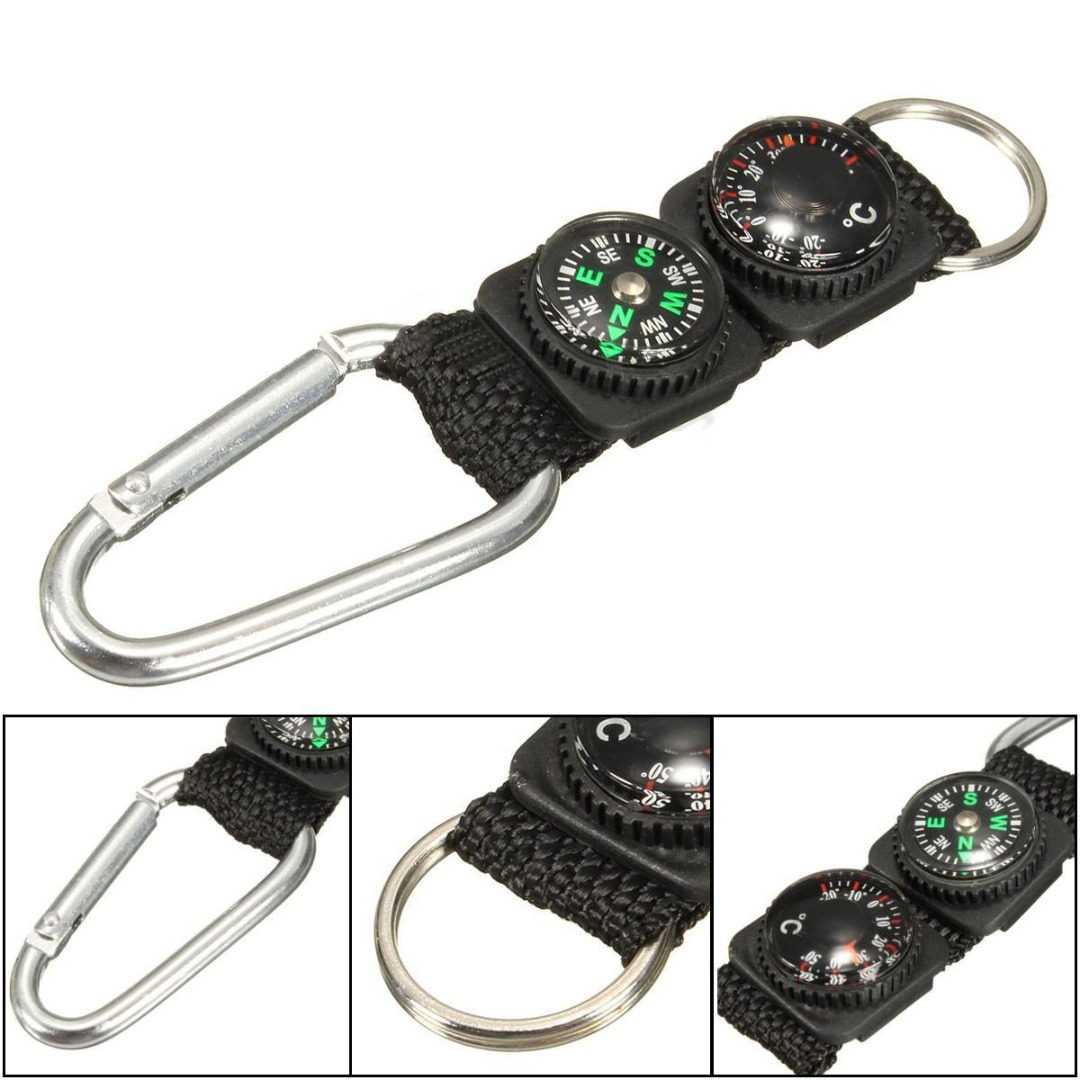 High Quality Mini Multifunction 3 in 1 Hiking Travel Compass Thermometer Carabiner Key Ring First Aid Kits Safety Survival Tools