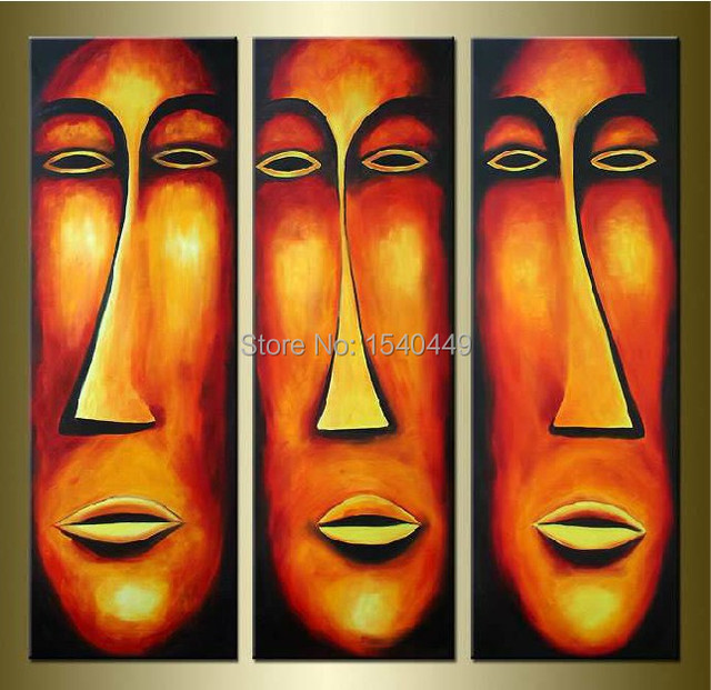 Hand Painted 3 Panels Oil Painting On Canvas Big Yellow Indian Face
