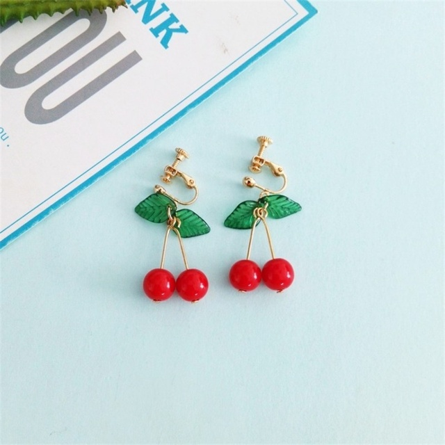 3 Japanese and Korean Sweet Fashion Youth Girl Student Fruit Cherry Earrings Fresh and Simple Cute.jpg 640x640 - 3*Japanese and Korean Sweet Fashion Youth Girl Student Fruit Cherry Earrings Fresh and Simple Cute Women Earrings Ear Clips