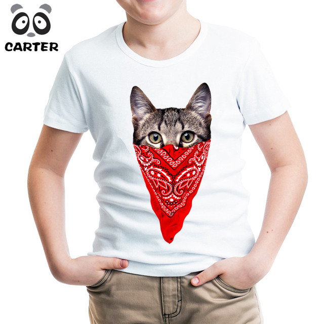 Funny Hip Hop Cat Print T Shirts For Boy And Girlkids Comfortable
