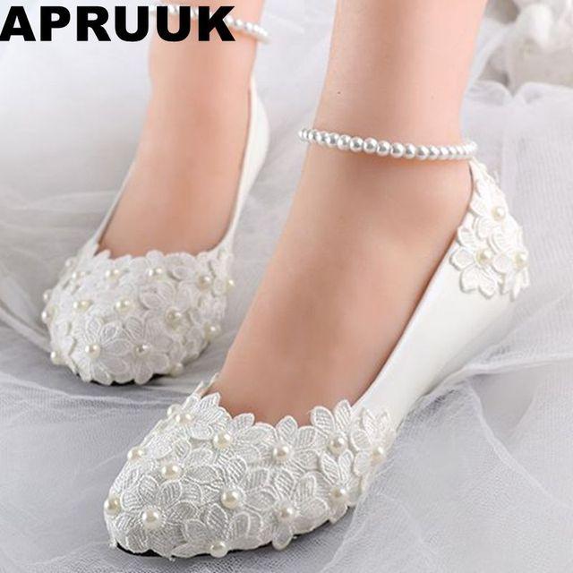 2829d593 Tacones de cuña bajos zapatos de boda de Primavera de verano para mujer  encaje marfil flor