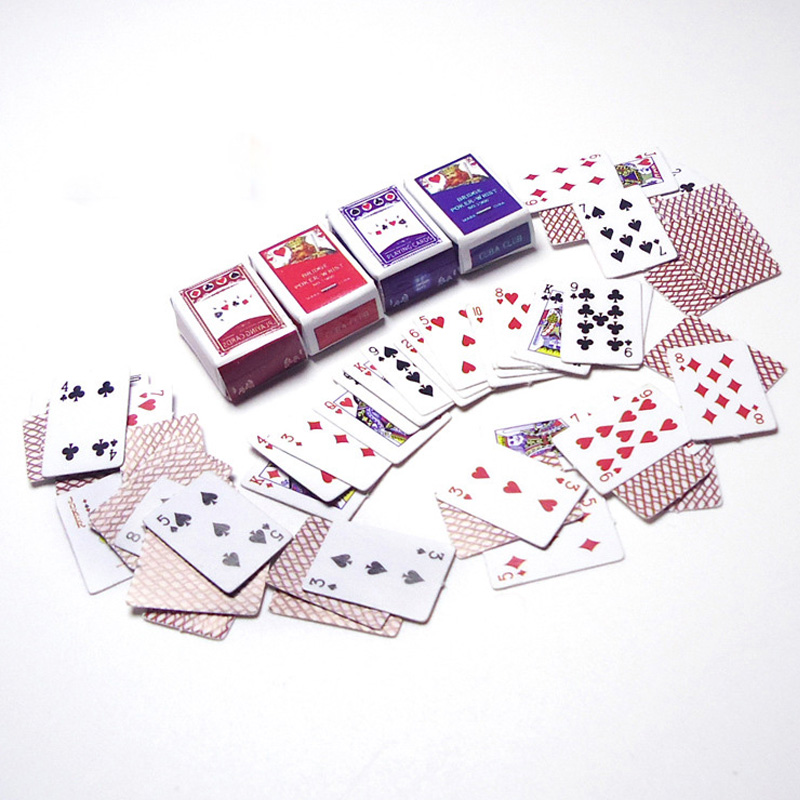 10 Set/lotto Vendita Calda Bambola Accessori Mini Carte Da Poker Set 1:12 Dollhouse Miniatures