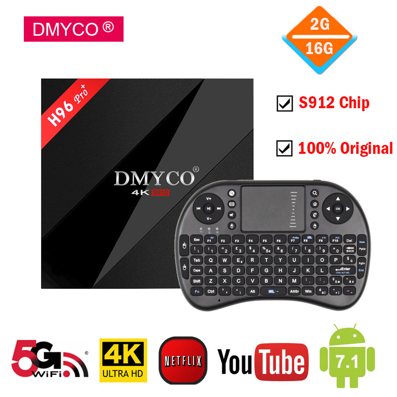 цена на android tv box 2gb ram 16gb flash Amlogic S912 octa core 5Ghz WIFI Bluetooth Smart TV Box WiFi 4K H.265 h96 pro plus Set Top Box
