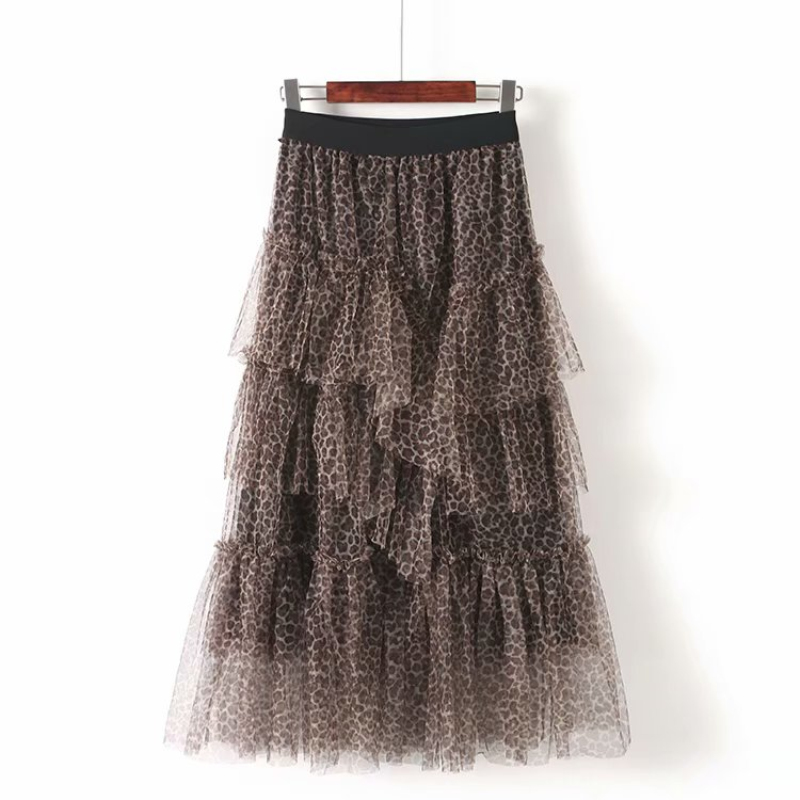 83cm Tutu Pleated Skirts 2019 Winter Women-s Leopard Vintage Tulle Skirt Girls Animal Print Layers Jupe Saia Ladies Party Skirt