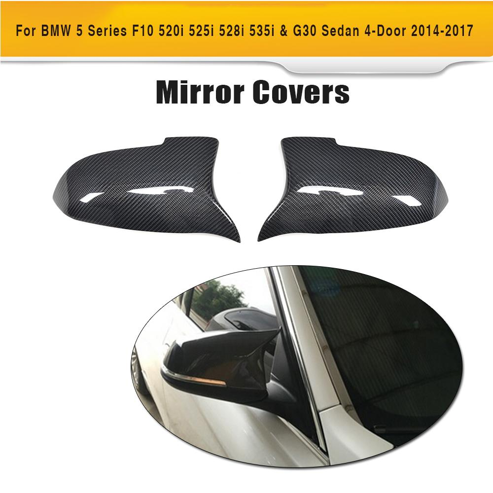 carbon fiber side rear back view mirror covers Caps for BMW 5 6 7 Series F10 F12 F01 & M Sport 14-16 ( Non M5 M6 ) f10 side wing rearview mirror cover caps for bmw sedan 11 13 carbon fiber