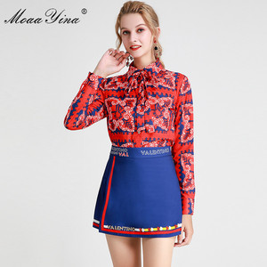 Image 4 - MoaaYina แฟชั่นชุดฤดูใบไม้ผลิฤดูร้อนผู้หญิงแขนยาวลายดอกไม้   พิมพ์เสื้อ + กางเกงขาสั้นสองชิ้นชุด