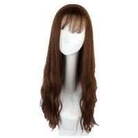 Soloowigs Kinky Krullend Bruin/Zwart Medium Meisje Pruiken Hoge Temperatuur Fiber Haarstukjes met Air Pony Peruk