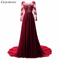 CEEWHY Custom Size Embroidery Court Train Robe De Soiree Long Evening Dress 2017 Crystal Chiffon Evening