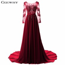 CEEWHY Custom Size Embroidery Court Train Robe de Soiree Crystal Chiffon Evening Dress Long Sleeve Prom Party Dress 2017 Plus