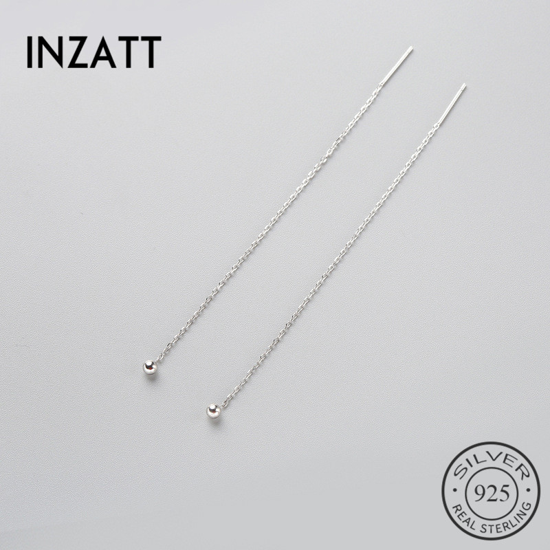 HTB1QWZKCKGSBuNjSspbq6AiipXa6 - INZATT Minimalist 925 Sterling Silver Dangle Drop Earrings Fine Jewelry Glossy Bead Long Tassel Metal Chain Pendientes 2018 Gift