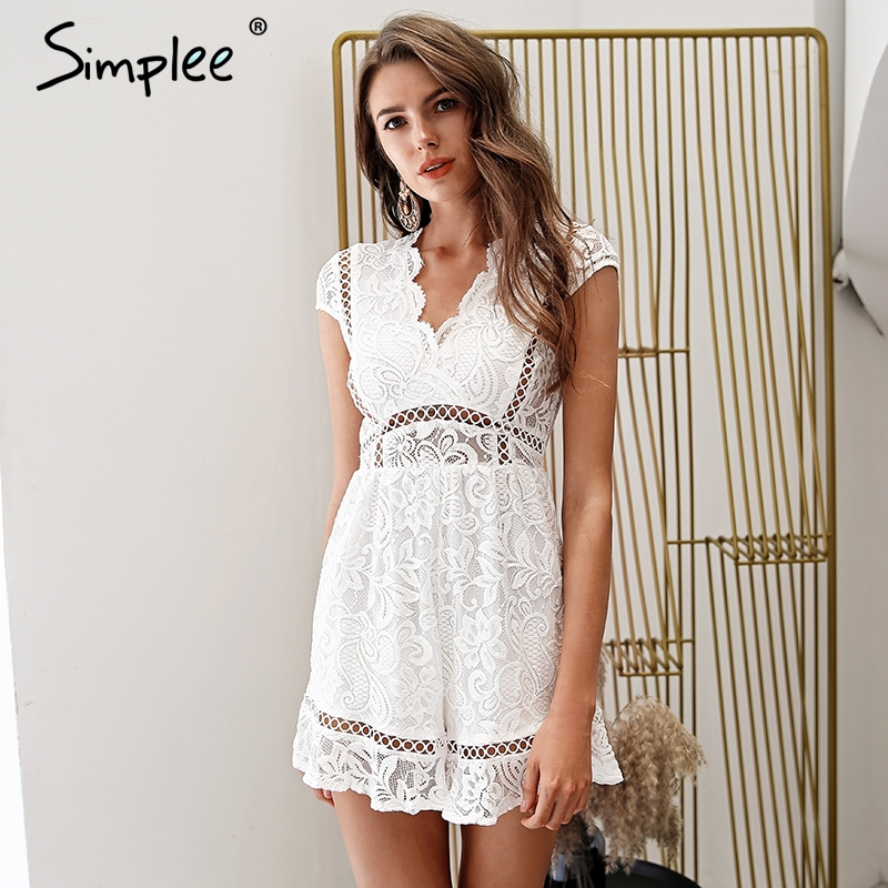 915c44360dc Simplee Elegant v neck lace rompers womens jumpsuit Ruffle hollow out sexy  playsuit 2018 Summer boho white overalls female-in Rompers from Women s  Clothing ...
