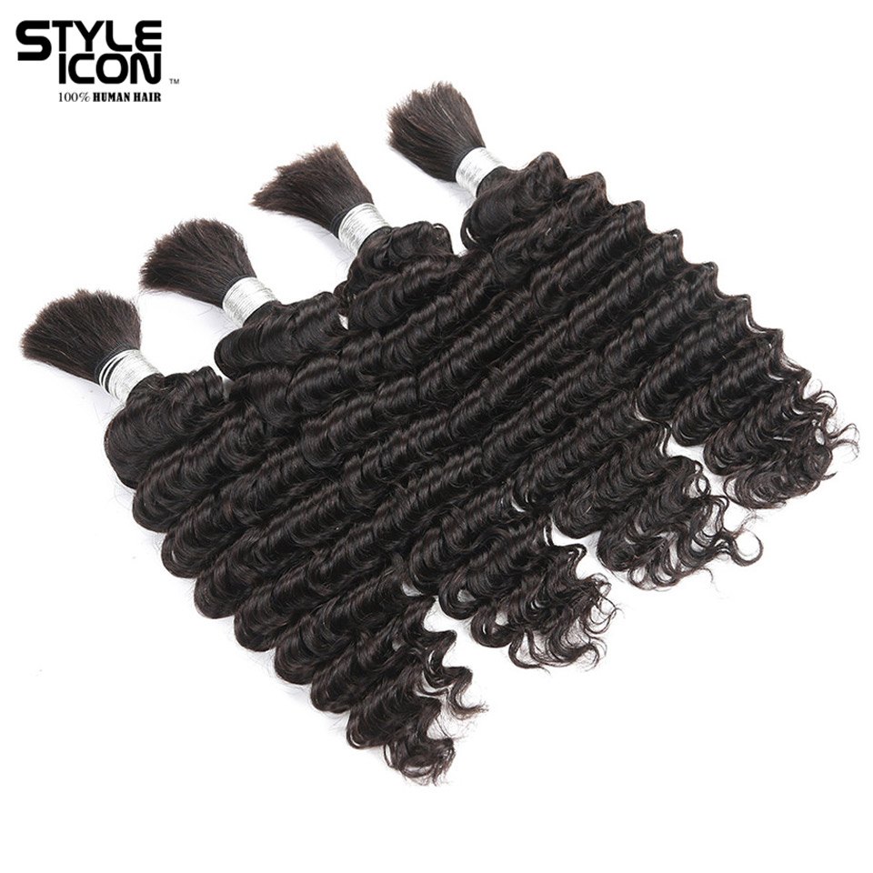 Styleicon 4 Bundles Deals Human Braiding Hair Bulk Natural Color Hair Braiding Remy Malaysian Deep Wave Hair Extension Crochet
