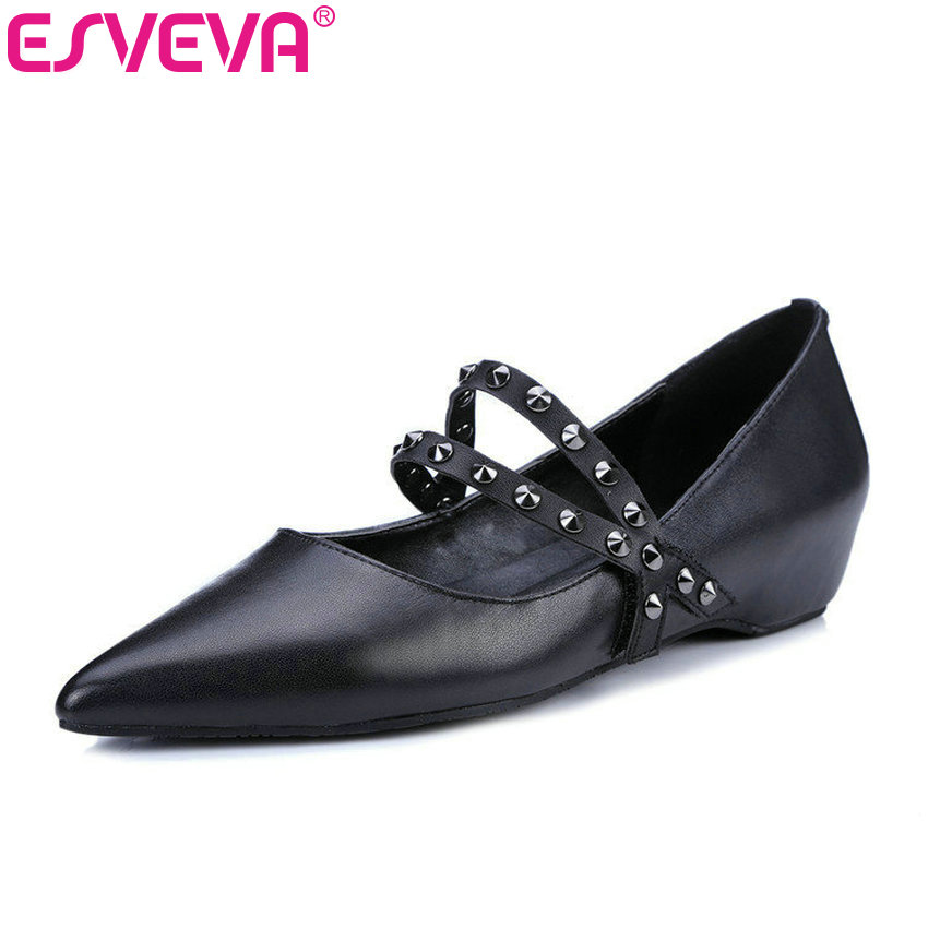 ESVEVA 2017 Pointed Toe Spring Autumn Shoes Party Leopard Low Heel Woman Pumps Rivets Genuine Leather Women Shoes Size 34-39 esveva 2017 ankle strap high heel women pumps square heel pointed toe shoes woman wedding shoes genuine leather pumps size 34 39
