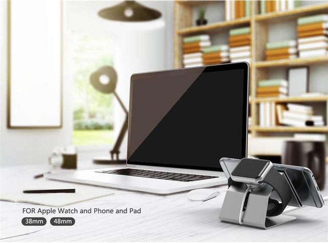 De aluminio de carga del cargador del muelle para apple watch soporte para android tablet pc tab pad para iphone 7 7 plus para apple ipad mini 4