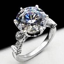 Vecalon moda Corona anillo de bodas para las mujeres 3ct corte Redondo diamante Simulado Cz 925 de Plata Femenina anillo de Compromiso Band