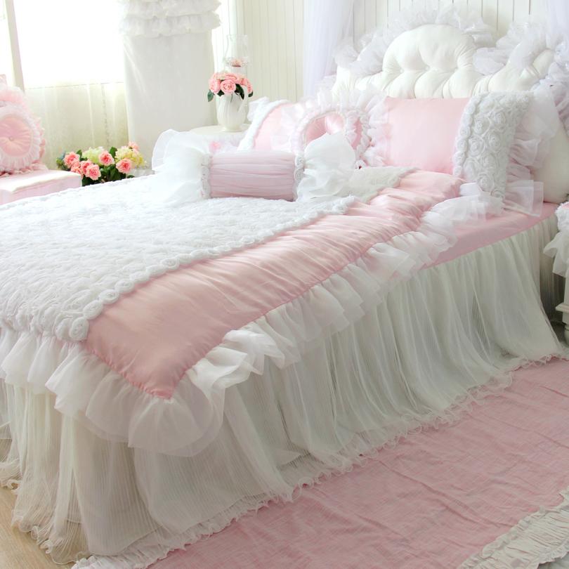 4 pcsset luxurty qualit tencel ensemble de literie rose volants housse de couette dentelle - Housse De Couette Romantique Rose