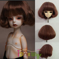 Heat resistant browndish curly short bob wig for 1/3 1/4 1/6  joint bjd doll