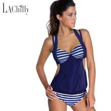2016 Women's Brazilian Swimwear 2pcs Solid Splice Striped Halter Tankini Swimsuits Bathing Suit Maillot De Bain Bikinis LC41944
