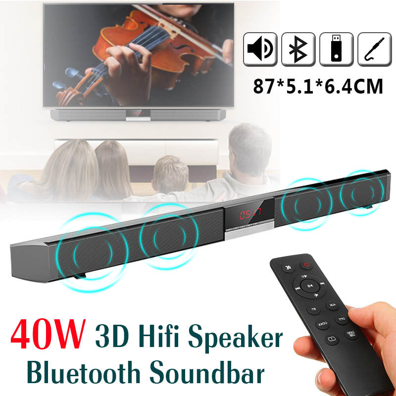 4 Drivers 3D HiFi Bluetooth Soundbar SR100 40W Remote Control Stereo Speaker Audio for Home TV Mobile Phone Bluetooth Speaker