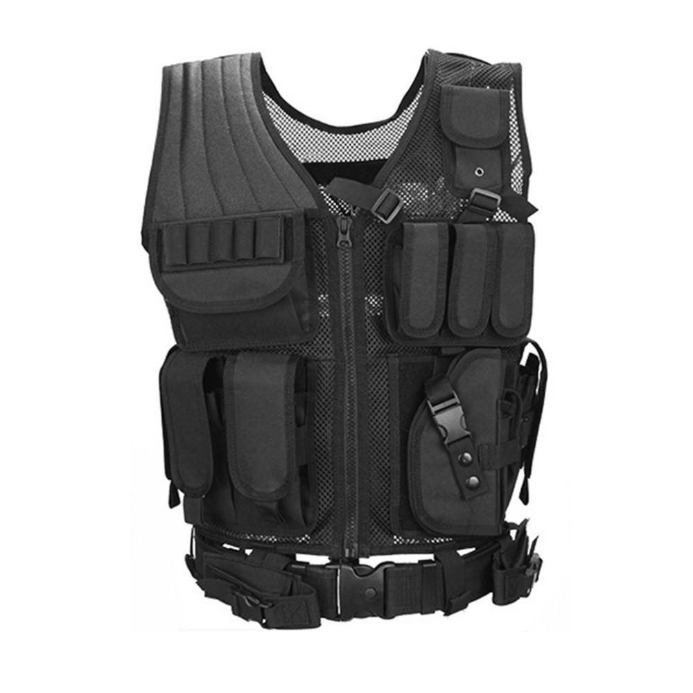 Camping Belt Protect Multi Pockets Multi-Functional Combat Vest Mesh Breathable Black Tactical Vest Field Operations Equipment