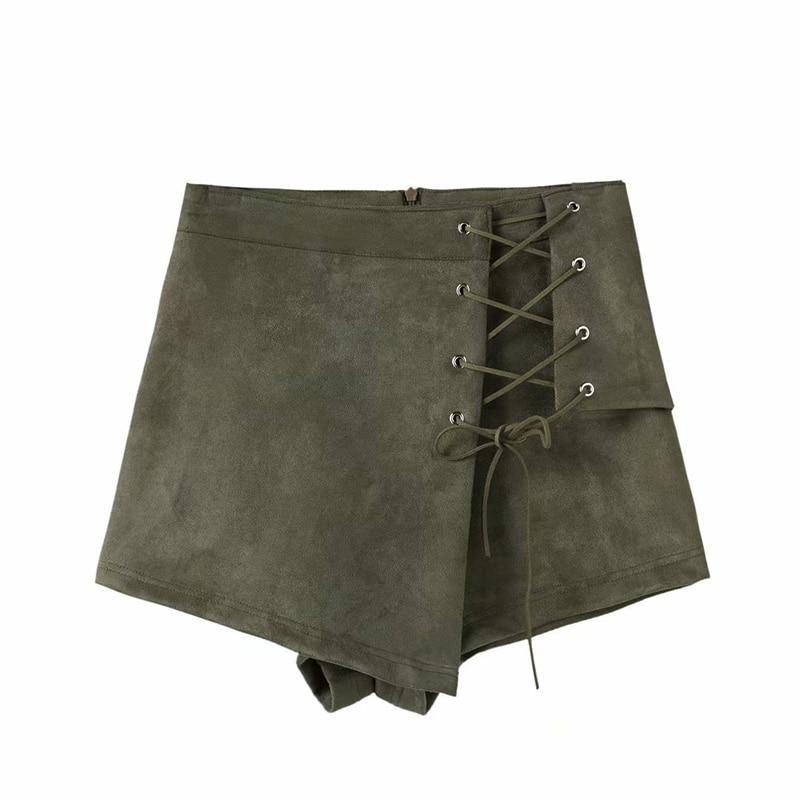 Mujeres Fabric Militar 2018 Rise Drawstriing High Esencial Shorts Vendaje Tipo Slim Faldas Otoño Verde Corte Irregular Suede SwI6S