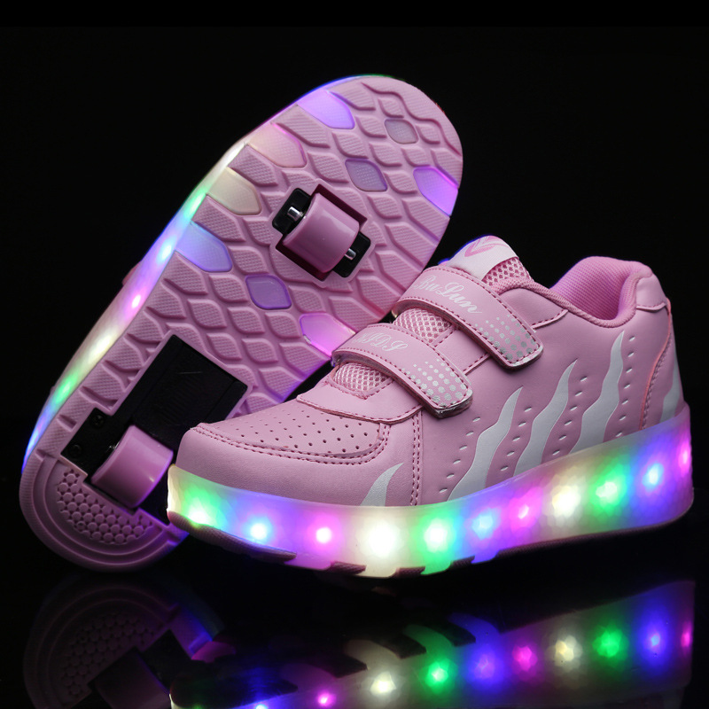 Size 27-43// Children Tenis LED Sneakers Single Wheels Flame Buty Led Luminous Boys Girls Toddler Roller Glowing Sneakers