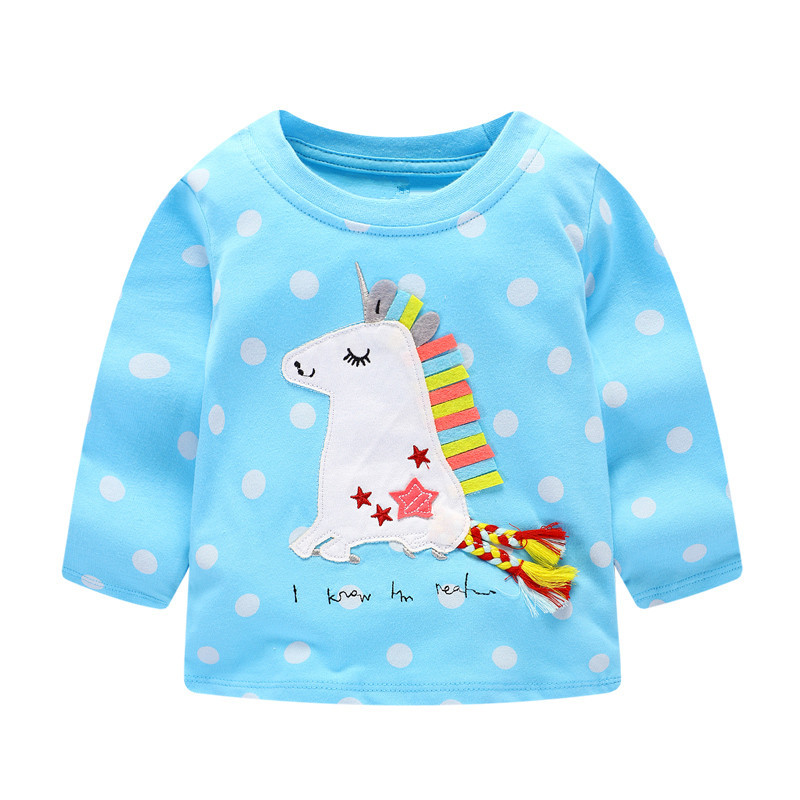 Jumping baby 2017 Girls T Shirt Children Clothes Kids Long Sleeve Tees Tops autumn Cotton Camiseta T-shirts Roupas Infantis