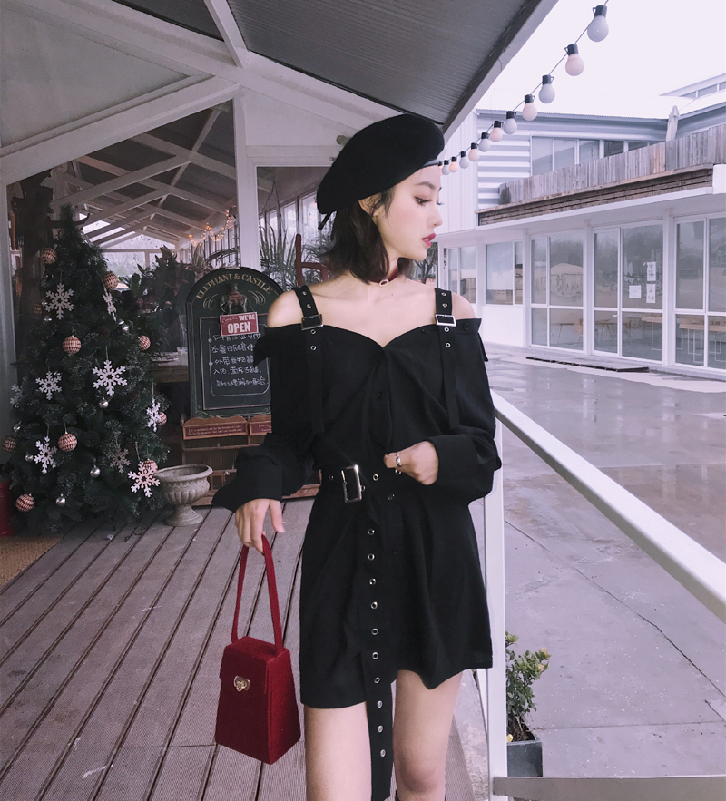 Summer Vintage Hard Black Suspenders Dress Female Harajuku Gothic New Arrival Off Shoulder Sexy Shirt Dress Punk Style Dresses