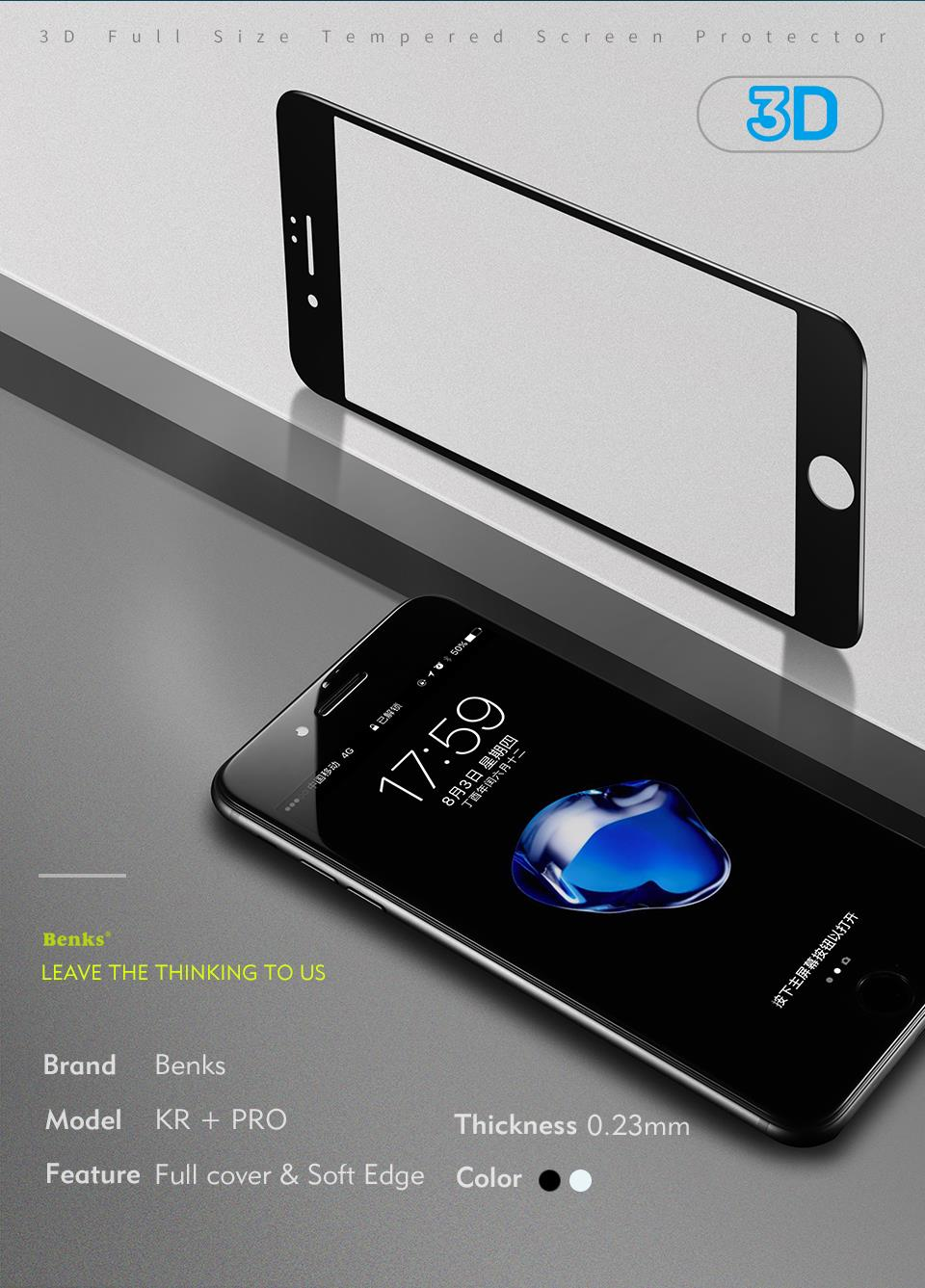 Benks Glass For Iphone 8 7 6s Plus Full Curved Tempered 2in1 Gravity Case Cover 6 Screen Protector 3d 023mm Protection 7plus Film