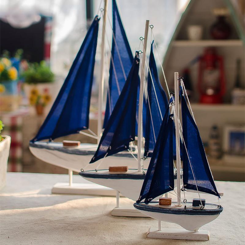 modelo de nave de madera madera marina barco miniatur azul velero de madera decoracin nutica